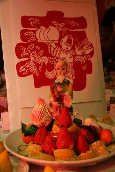 水果做成的寿星